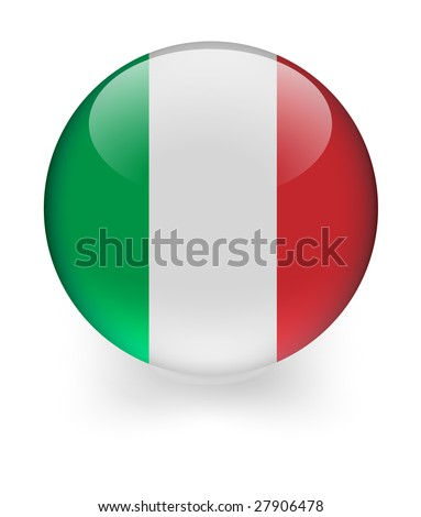 3d shiny sphere with italian flag