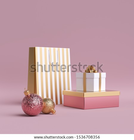3d shopping bags, glass ball ornament, wrapped gift box. Christmas feminine commercial mockup for advertisement. Clip art isolated on pink background. Cylinder platform.