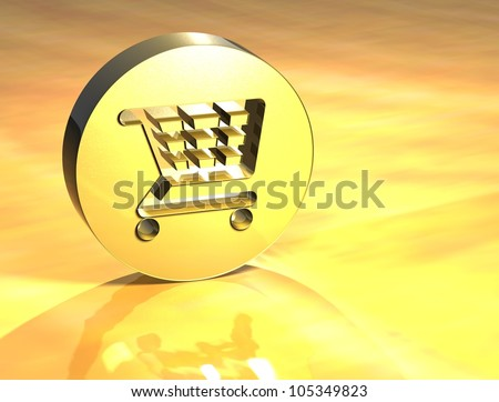 3D Shopping Card Gold Sign over yellow background