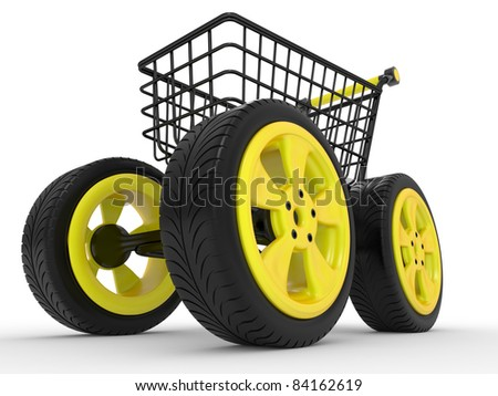 3d shopping cart with big car wheel isolated on white - stock photo