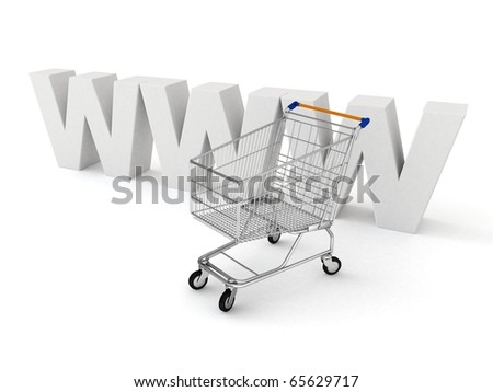 3d shopping cart with www logo