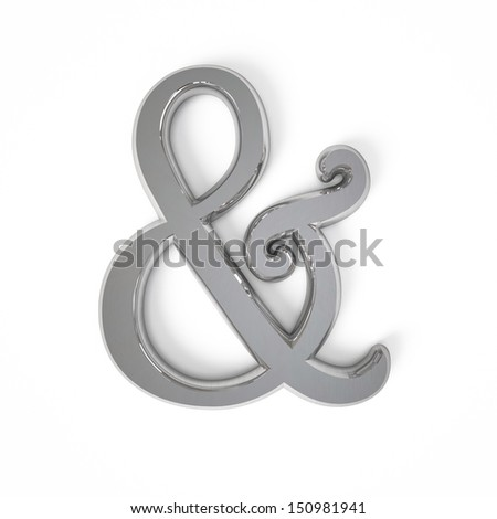 3d Sign ampersand with metal surface isolated on a white background - stock photo