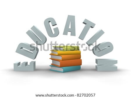 3D sign for education with text and books.