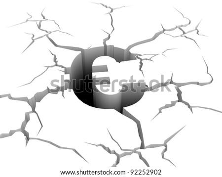 3d sign of euro symbol fall down a precipice