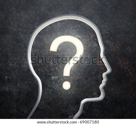 3D silhouette of a male face with a glowing question mark