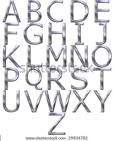 3d silver alphabet - stock photo