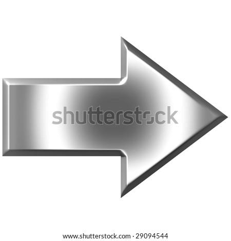 3d silver arrow - stock photo