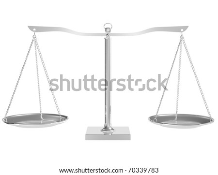 3D silver balance on white isolated background - render