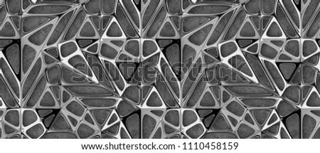 3d silver chrome lattice tiles on concrete background. High quality seamless realistic texture.
