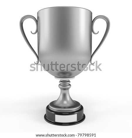 3d silver cup trophy isolated on white