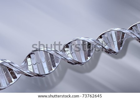 3D Silver DNA Strands on a Grey Background