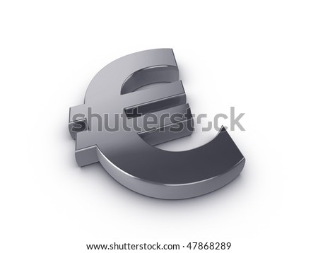 3d Silver Euro currency symbol isolated on a white background - stock photo