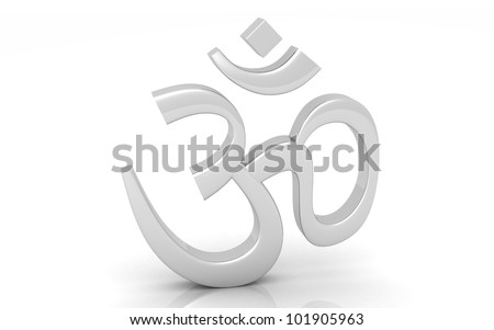 3D silver Hinduism Symbol. ohm