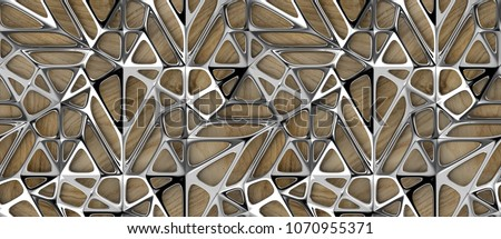 3d silver lattice tiles on wooden oak background. Material wood oak. High quality seamless realistic texture.