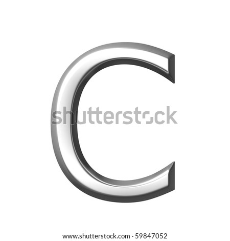 3d silver letter c isolated in white