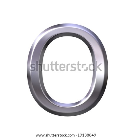 3d silver letter o - stock photo