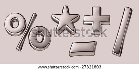 3d silver mathematics signs