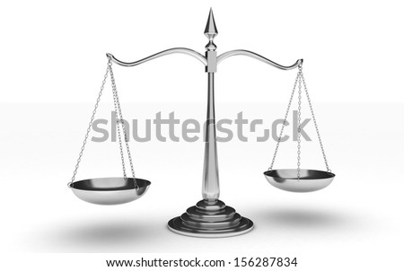 3d silver scales of justice isolated on white background