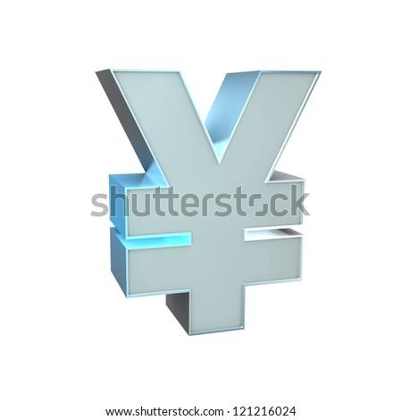 3d Silver Sign. Yen