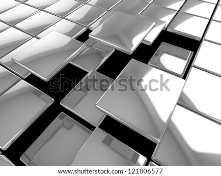3D silver tiles background