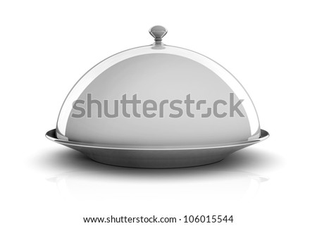 3d silver tray on white background