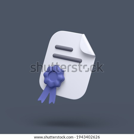 3d simple certificate or diploma icon with blue stamp and bent corner on grey pastel background. Hight quality 3d illustration or render. Stockfoto ©