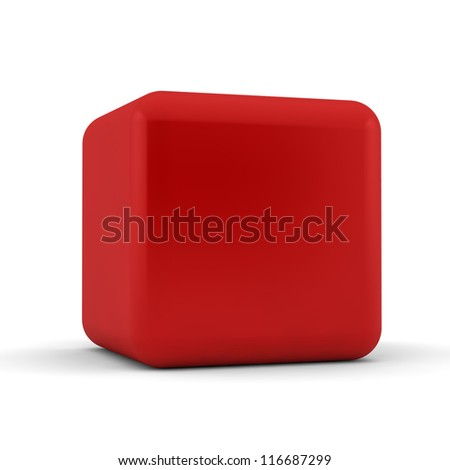 3d simple red cube with blank faces and equilateral sides that are bevelled , rounded and shaped on a white background