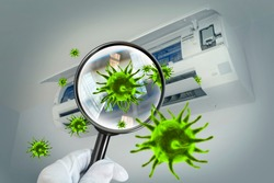 3D simulation of viruses inside the air conditioner by showing through a magnifying glass