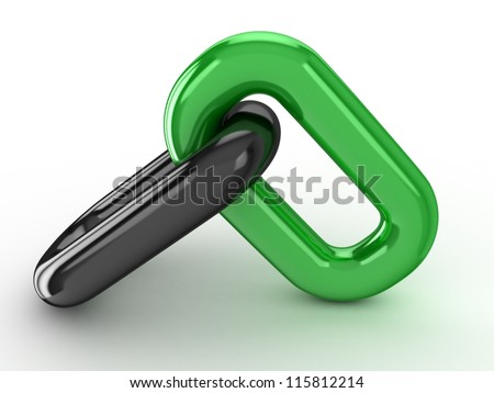 3d Single chain link on white background