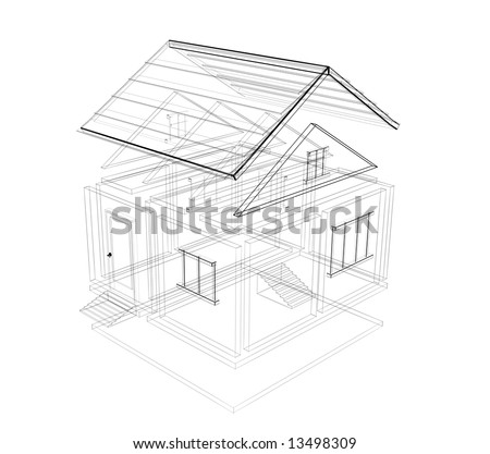 3d sketch of a house. Object over white - stock photo