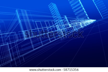 3D sketch of office buildings. Concept - modern city and  architecture