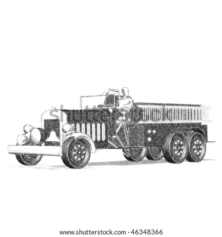 Antique fire truck drawings