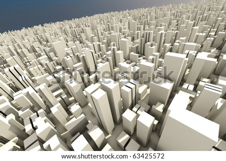 3d skyline of a city, aerial view