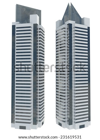 3d skyscraper model in two view on white backgruond.