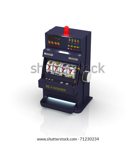 3d slot machine - stock photo