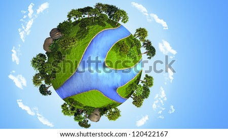 3D small green planet