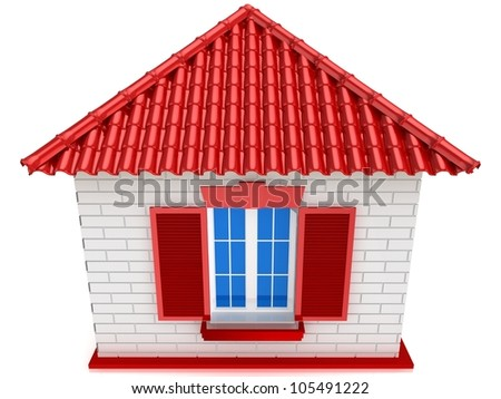 3D small house with red roof on a white background. - stock photo