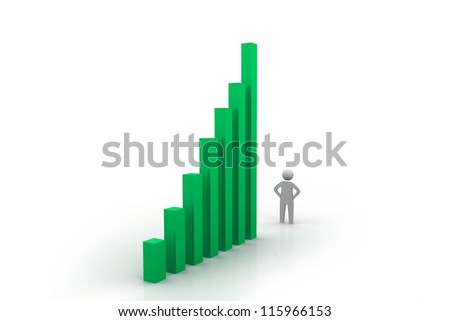 3d small man and  successful business graph over white background a