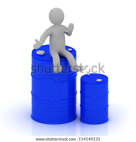 3D small man is sitting on a blue barrel with oil and standing beside a blue barrel less