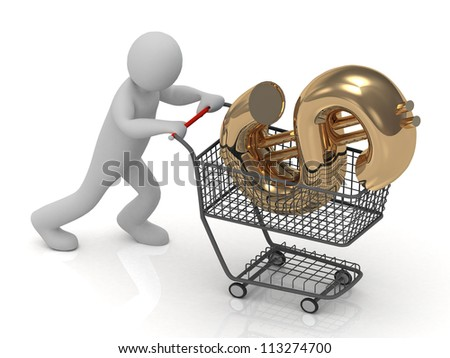 3D small man rolls in a trolley cart big gold dollar isolated on a white background