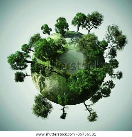 3d Small peaceful green planet