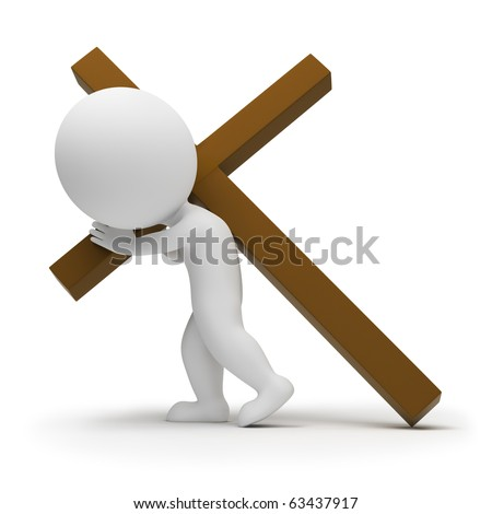 3d small people a bearing cross. 3d image. Isolated white background.