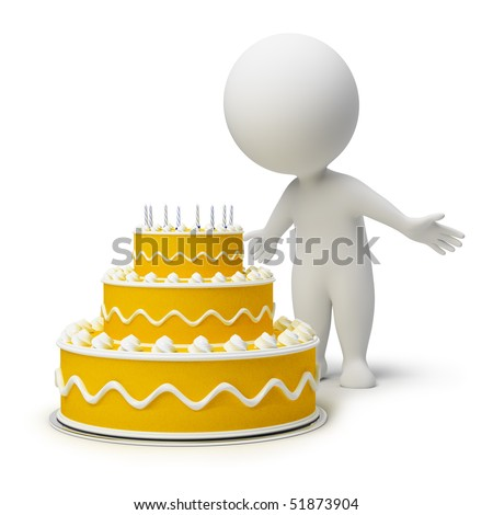 3d small people and a cake to birthday. 3d image. Isolated white background.