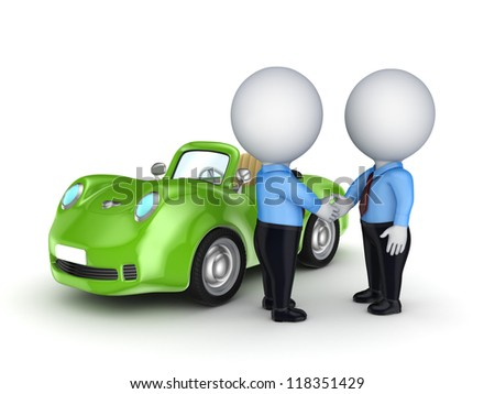 3d small people and green car.Isolated on white background.3d rendered.