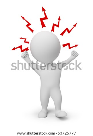 3d small people - angry with lightnings over a head. 3d image. Isolated white background.