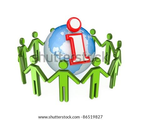 3d small people around globe and info symbol. Isolated on white background.