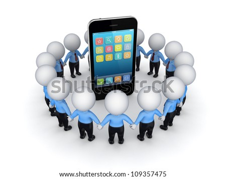 3d small people around modern mobile phone.Isolated on white background.