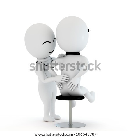 3d small people as doctor and patient as severe back pain and getting treatment with doctor with a white background - stock photo