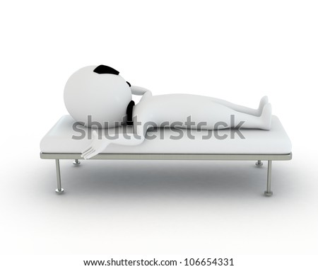 3d small people as patient and in serious condition and taking some rest
