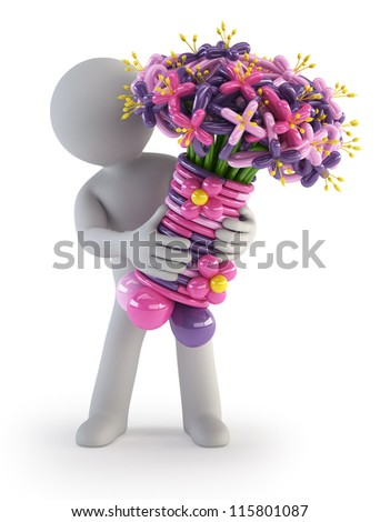 3d small people - Balloon flower